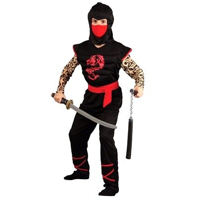 Boys MUSCLE CHEST NINJA Fancy Dress Book Week Costume Tattooed Outfit Age 5-10