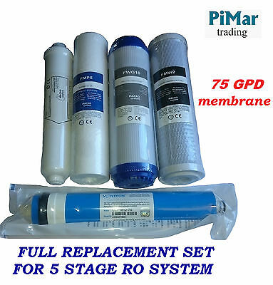 Full Replacement filter set membrane 75GPD for 5 Stage Reverse Osmosis RO System