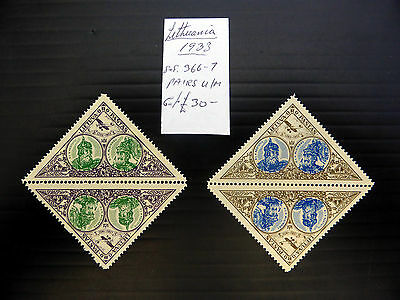 LITHUANIA 1933 Triangular Pairs As Described U/M FP7570