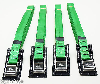 4-pack of 5.0m TOUGH PADDED Cam Buckle Straps Green - Lashing Strap Cargo Belt