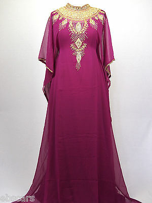 Plum and Gold High Neck Shoulder Detail Farasha Kaftan Maxi Dress Gown Abaya