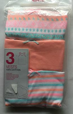 Baby Girls 3 Pack Vests in Various Peach Colour designs sizes 1.5 - 2  years