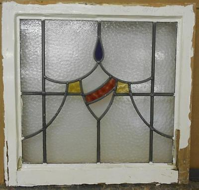 """OLD ENGLISH LEADED STAINED GLASS WINDOW Sheild Swag 21.5"""" x 20.75"""""""