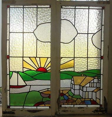 """OLD ENGLISH LEADED STAINED GLASS WINDOW Beautiful Outdoor Scene Pair 40"""" x 42.5"""""""