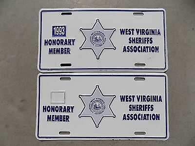 1993 West Virginia Sheriffs Association Honorary Member Pair of License Plates