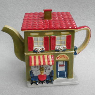 Teapot Figural Bistro Cafe House Ceramic Tea Pot 4 cup Kitchen Decor Colorful