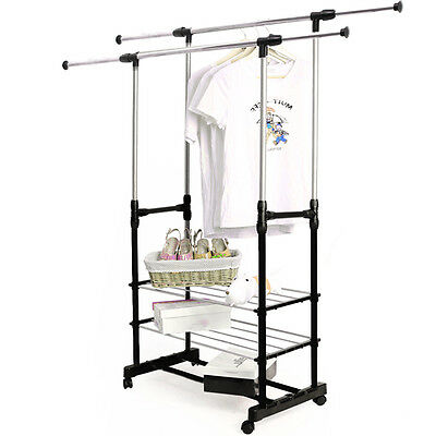 Adjustable Clothes Hanging Rail Rack Storage Stand On Wheels with Shoe Rack UK