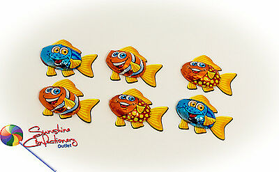 6 X Chocolate Fish - Storz  -  Kids Party Lollies-Cupcakes