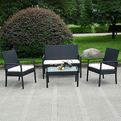 4 PCS Rattan Outdoor Patio Furniture Set Table Chair Sofa Cushioned Seat Garden