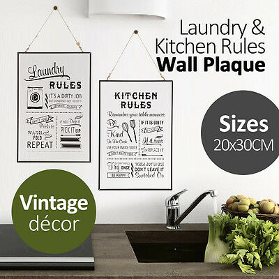 30x20CM Inspiration Wall Hanging Laundry/Kitchen Rules Wall Glass Decor Plaque