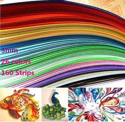 DZ1207 Quilling Paper 3mm*390mm Mixed Origami Paper craft 160 Strips 26 Colors ♫