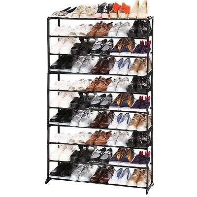 10 Tier Hot 50 Pair Space Saving Shoe Tower Rack Storage Organizer Free Standing