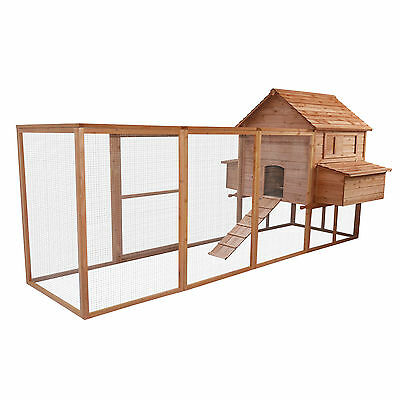 "Pawhut 143"" DELUXE Chicken Coop Hen House Poultry Pet Backyard LARGE CAGE"