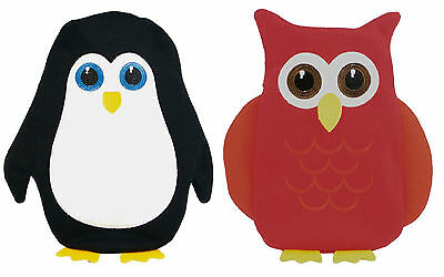 750ml Hot Water Bottle with Animal Shaped Knitted Cover ~ Penguin or Owl