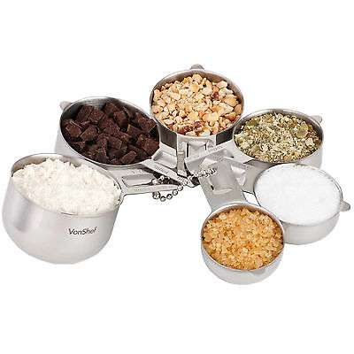 VonShef 6pc Premium Stainless Steel Stackable Kitchen Measuring Cup Set