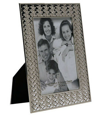 """Silver Photo Picture Frame 4x6"""" Inches & 5x7"""" Inches - Weave Effect - CHEAPEST!"""