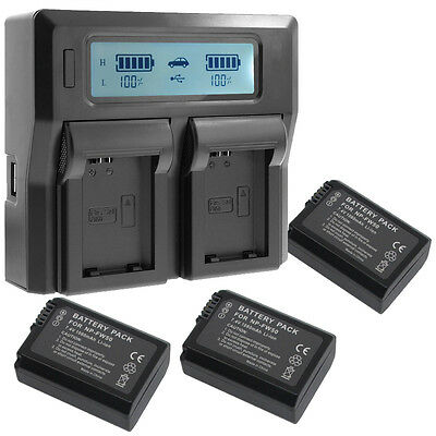 Fast LCD Dual Charger +3x1080mAh Battery for NP-FW50 Sony A7II A7R A7S ILCE-6000