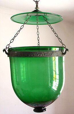 Antique 1890 Colonial Bell Jar Glass Hall Lantern Chandeliar Oil Lamp Green
