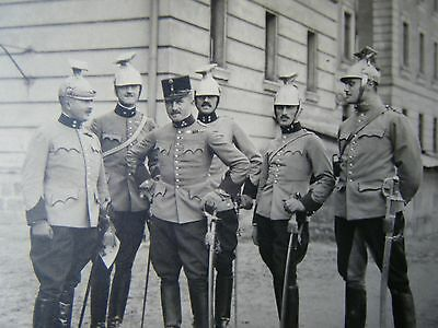 Officers with Great Helmets - Real Photo Postcard original