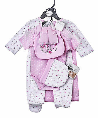 Baby Girls 6 Piece Luxury Pink Layette Clothing Gift Set by Pitter patter