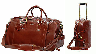 REAL LEATHER Holdall Telescopic Handle Weekend Cabin Travel Trolley Bag Brown