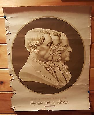 1917 Original Poster - Kindred Spirits in the Cause - Wilson Lincoln Washington