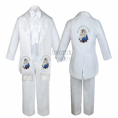 Baptism Christening Suit Tail Tuxedo Virgin Mary Pope Stole Size Newborn-5,6,7