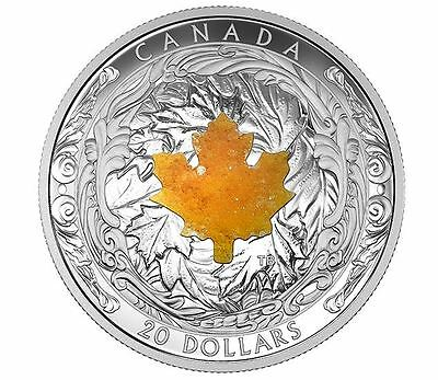 2016 $20 1oz 99.99% PURE FINE SILVER COIN MAJESTIC MAPLE LEAVES WITH DRUSY STONE