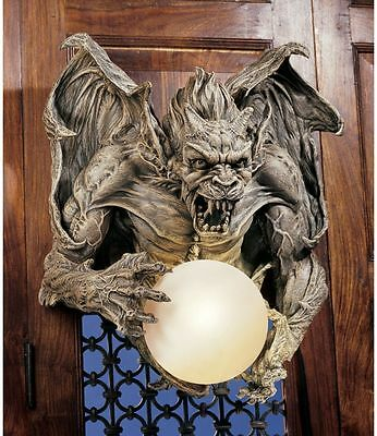 Sculpted Demon Gargoyle Holding Glass Orb Dramatic Decor Hanging Wall Sconce
