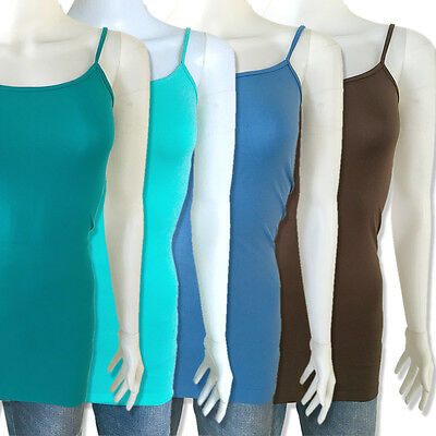 Women Basic Stretch Spaghetti Strap Long Tank Top Cami / Camisole