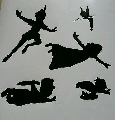 Self Adhesive Peter Pan Wendy Michael John Tink Flying Stickers Vinyl Decal