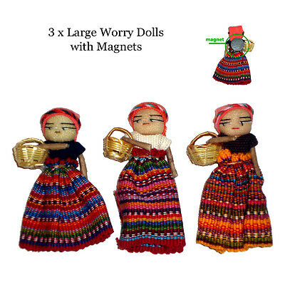 Worry Dolls Fridge Magnets Large Worry Dolls with Magnet x 3