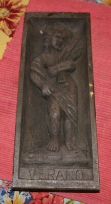 Vergara Art Wood Carving Titled Verano-Hand Made Spain-Woman W/Wheat Wall Plaque