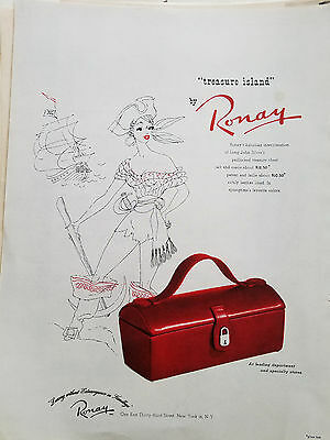 1951 Womens Red Treasure Island Purse Handbag by RONAY Fashion Color Ad