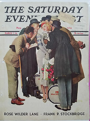 1936 Saturday Evening Post Cover Pretty Blonde Norman Rockwell Art