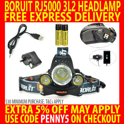 Boruit 40W Rechargeable Cree 13000Lm 3T6 3X Xm-L2 Led Headlamp Torch W/ Usb Port