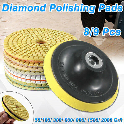 "9PCS Wet Dry Diamond Polishing Pads 4"" Inch Set Kit For Granite Concrete Marble"