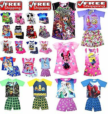 NEW Sz 1-12 KIDS BOYS PYJAMAS PJ PJS SUMMER TEES T-SHIRT SLEEPWEAR NIGHTIE DRESS
