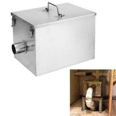 5GPM 8LB Commercial Grease Trap Kitchen Waste Filter Stainless Steel Interceptor