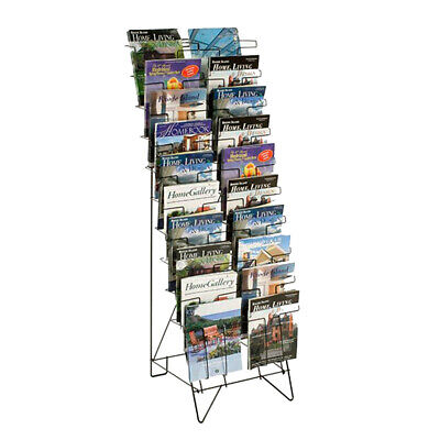 10-Tiered Wire Literature Stand for Floor, 20 Pockets for Magazines 119963