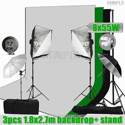 Photography Studio Softbox Lighting Umbrella Light Kit Muslin Backdrop Stand Set