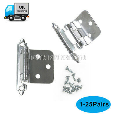 Self Closing Flush Mount Cabinet/Cupboard Door Hinges Polished Chrome 1-25Pairs