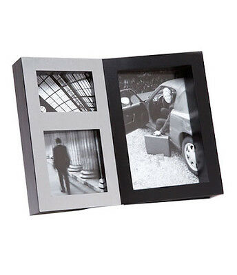 Black & Silver Collage Photo Picture Frame Holds 3 Photos