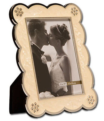 """Ivory Photo Picture Frame 5x7"""" & 8x10"""" - White Crystal Design - WEDDING GIFT"""