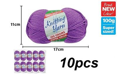 10 x Knitting Yarn Wool Acrylic 8 Ply 100g Purple 100% Brand New (WIN-114)