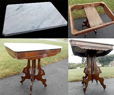 Antique MARBLE TOP Parlor Lamp TABLE Vintage VICTORIAN Ornate MAHOGANY Moon Side
