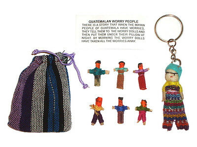 Worry Dolls - 6 X MINI WORRY DOLLS in TEXTILE BAG Plus Worry Doll KEYRING Combo