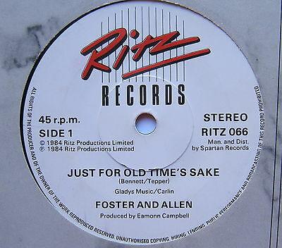 "FOSTER & ALLEN - Just For Old Time's Sake - Ex Con 7"" Single Ritz RITZ 066"