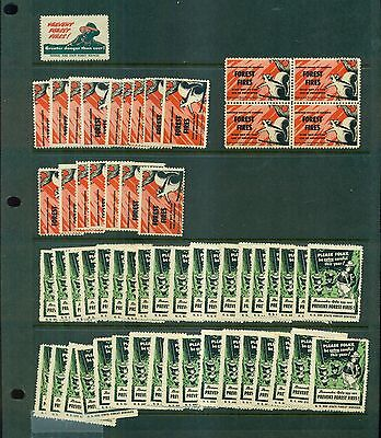 """1944-1955 Smokey the Bear """"Prevent Forest Fires"""" Poster Stamps Dealer's Stock"""