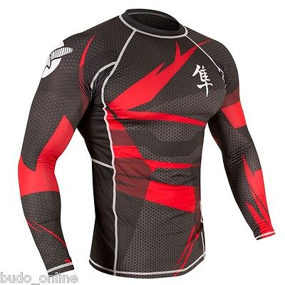 Hayabusa Mens Long Sleeve MMA Rash Guard Metaru 47 Compression BJJ Rashguard Top